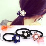 Know Connie hair Korea women''s hair circle jewelry fashion flower faux Pearl rope high elastic hair band first flower headdress