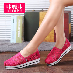 MI Ka autumn new air platform shoes women fashion flat shoes women's shoes at the end of the Korean version of boom foot lazy man shoes