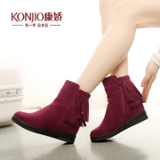 Kang Jiao winter boots leather booties flat round caps feet in autumn and winter in Europe and America increased short-barrel tassel boots new