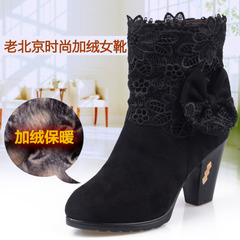 Beijing morning winter new conical heels and velvet foot with old Beijing cloth shoes women's shoes casual boots short boots
