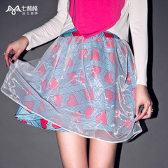 Summer of seven space space OTHERMIX2015 new spliced love print skirts, gauze Tutu skirts