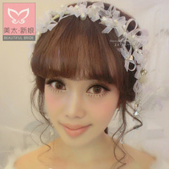 Beauty is just too soft Pearl bridal hair accessories Korean silk yarn wedding rhinestone tiara wedding accessories by hand B0547