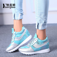 Yi Mei Jiao shoes spring and autumn 2016 Korean Sports leisure shoes low elevated platform in thick-soled shoes women's shoes