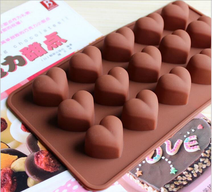 包邮DIY烘焙模具 爱心款硅胶巧克力模具耐高温硅胶果冻布丁手工
