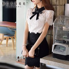 2015 dress big pink doll summer styles dresses wave spell color lace short sleeve slim dress
