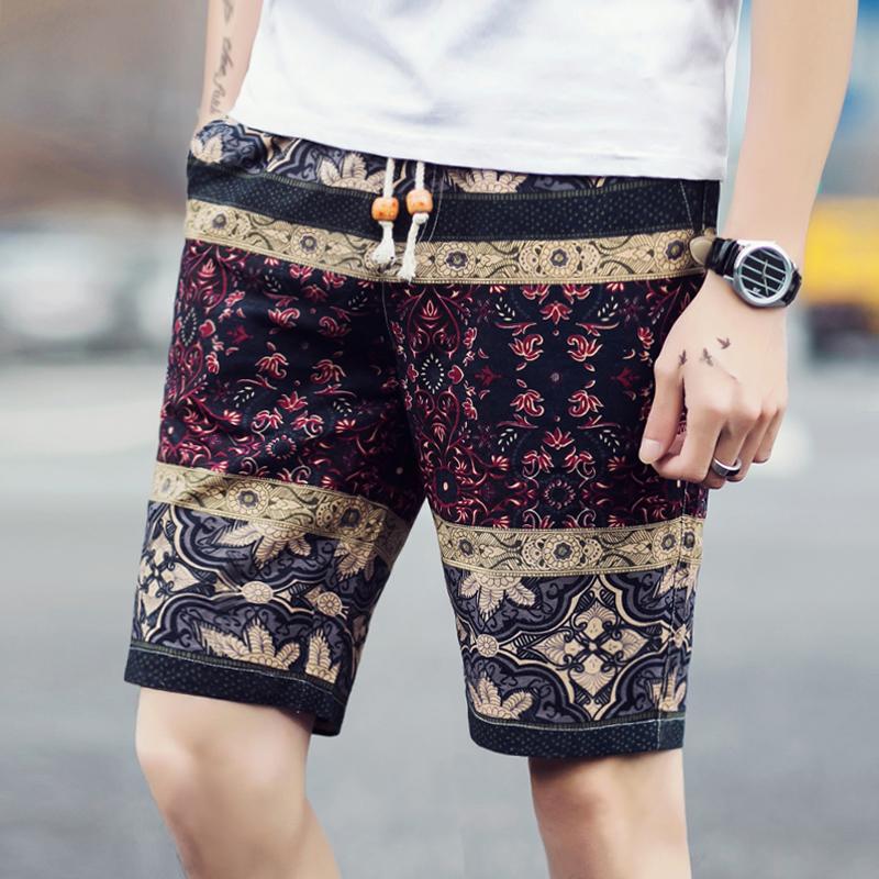夏季短裤男夏天男装男士七分裤子休闲裤潮5分五分中裤花裤沙滩裤