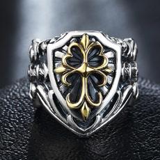 天使之愿复古泰银十字架戒指男士戒指男个性潮人霸气单身日韩韩版