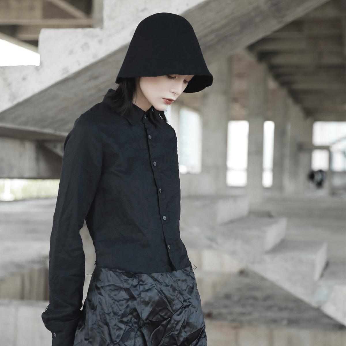 SIMPLE BLACK 暗黑秋冬割边麻料短款修身长袖衬衫