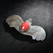 Very Thai s925 silver retro Palace Barrette new inlaid red stone and elegant tiara hair clip