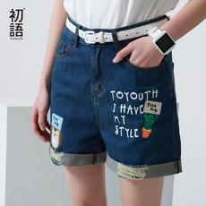 初语夏季学生牛仔短裤女夏宽松阔腿牛仔裤破洞印花女裤显瘦热裤潮