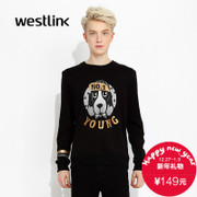 Westlink/West fall 2015 the new letter head printing cotton men sweater long sleeve sweater