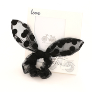 Know Connie hair accessories Korean version of butterfly Black Lace bunny ears first circle hair line elastic hair band