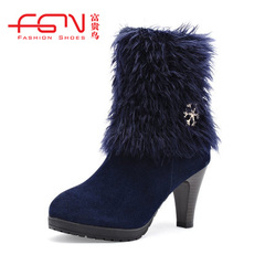 Fuguiniao shoes new boots for fall/winter women's high heel real leather women boots UK Martin boots tide girls