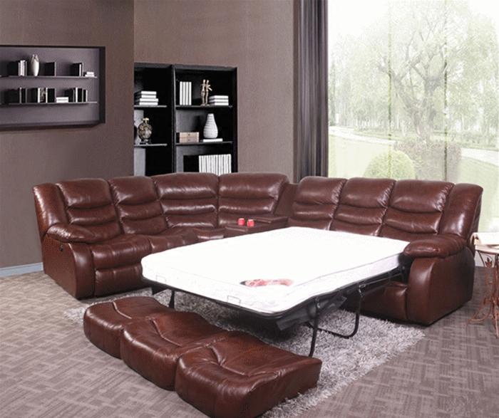 进口中厚皮酒红色沙发床2.1米 真头层牛皮转角沙发床青皮高档沙发