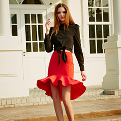Europe Spring/Summer new style elegant flounces retro fishtail skirts slim package hip commuter dress in red-9360