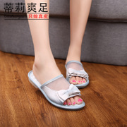Tilly cool foot 2015 new handmade vintage bow casual and comfortable flat-bottom leather mesh mosaic flip flops