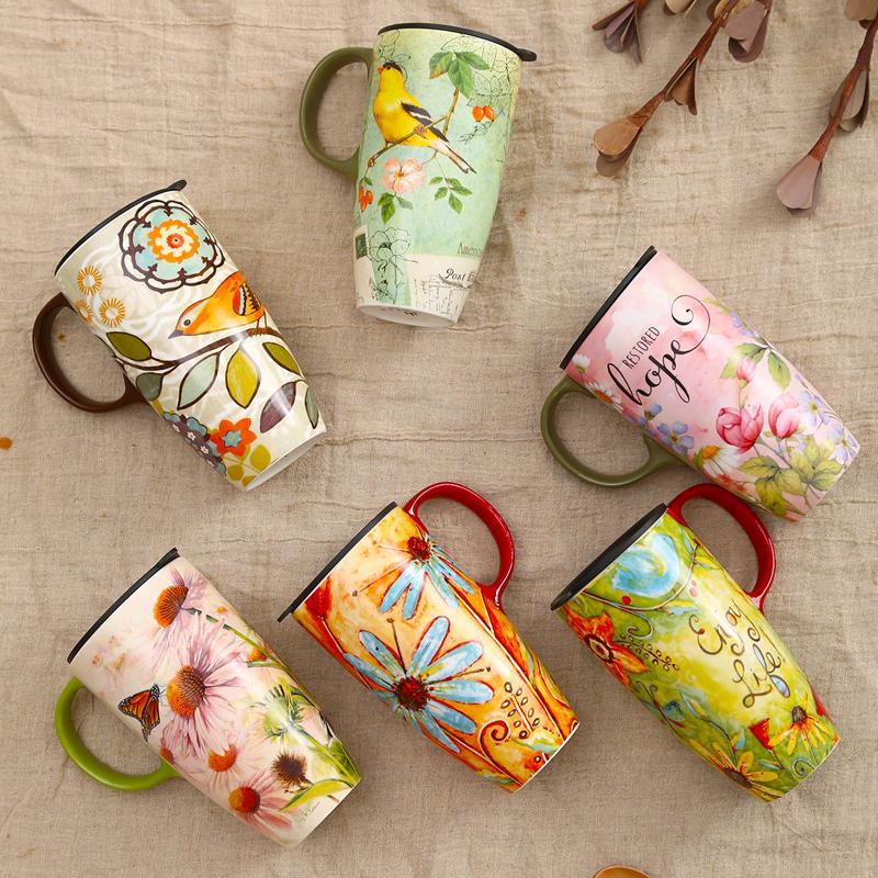 Evergreen爱屋格林马克杯 创意水杯咖啡杯陶瓷杯大容量带盖杯子