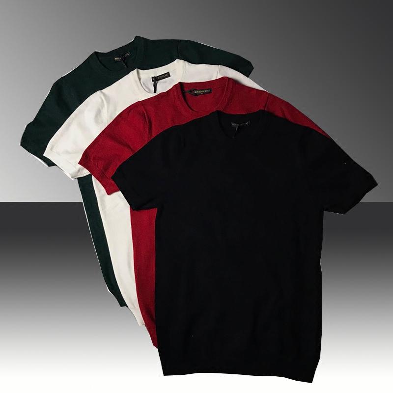 秋季男半袖修身毛衣韩版圆领纯棉短袖针织衫大码套头纯色打底线衣