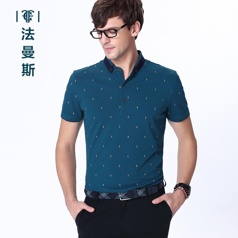 法曼斯2016夏装翻领天丝棉短袖T恤时尚印花青年男士商务修身短T衫