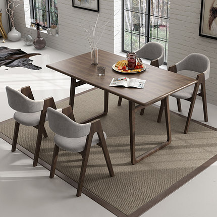 梦尚佳实木餐桌北欧日式风原木餐桌椅组合白蜡木大小户型餐厅家具