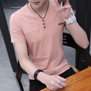 夏季2017新款男士短袖t恤v领韩版潮流青少年上衣服半袖体恤衫男装