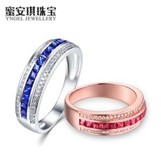 蜜安琪 0.59~0.80克拉天然红宝石戒指 18K金彩宝指环钻戒