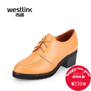 West fall 2015 new round casual lace deep mouth shoe leather shoes with chunky heels shoes