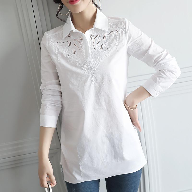 白衬衫女长袖中长款2019春季韩版修身显瘦绣花镂空纯棉套头衬衣