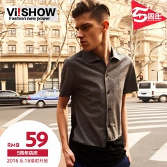 Viishow-summer mosaic short sleeved shirt Western style fashion cultivate one's morality tide solid color shirts