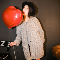 QUEENZZ Europe, aristocratic air autumn/winter 2014 new high imitation faux fur long warm fur coat #