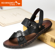 Red Dragonfly new genuine hand-sewn leather men Sandals 2015 summer leisure breathable men's shoes
