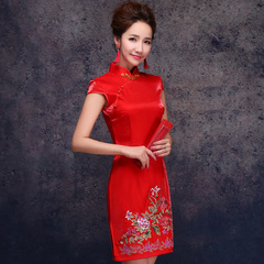 Purple Elf 2015 new short sleeve embroidery bridal red retro short wedding toast cheongsam dress costume gown