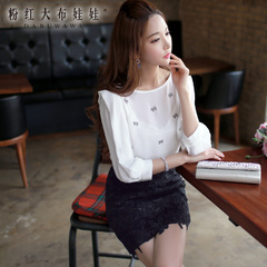Shirt women long sleeves Pink doll new 2015 spring Couture bow blouse white shirt
