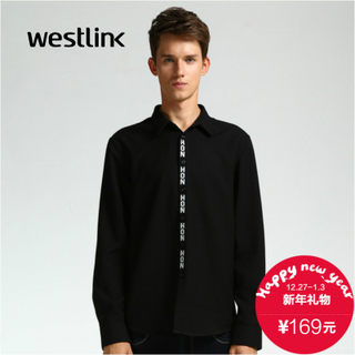 Westlink/West New 2015 winter tide men's black and white letters printed shirt placket long sleeves round pendulum