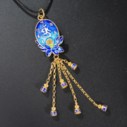 Thai silver cloisonne 925 mantra pendant vintage fashion female wild tassel gold