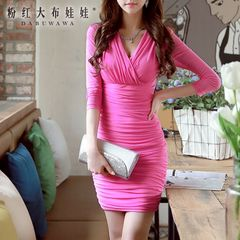 V-neck dress big pink doll 2015 summer styles dresses sexy slim slimming bag hip dress
