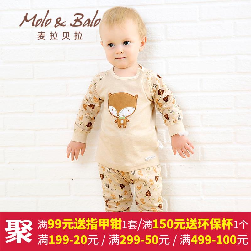 婴儿内衣套装春秋纯棉男女宝宝彩棉内衣卡通服肩开套装产品展示图3