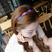 Triangle know NI the Korean version of color mosaic Rainbow retro headband Korean Ribbon fashion headband elastic