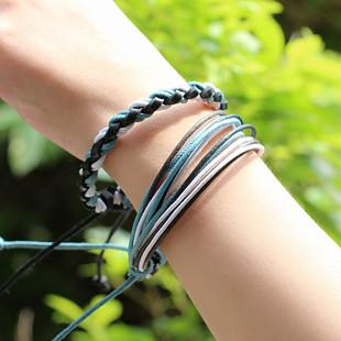 韩国 时尚清新手工编织手绳手链