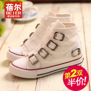Becky Korean canvas flat bottom increased leisure shoes high Velcro shoes in fall 2015 new