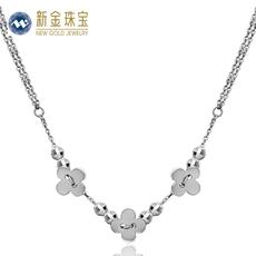 新金珠宝 Pt950铂金套链 新款花瓣花朵铂金套链吊坠项链 包邮
