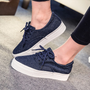 New 2015 summer canvas shoes fashion Academy wind Korean sweet jeans clean women's shoes platform heels shoes