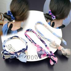 韩国头发 饰品发绳珍珠蝴蝶结碎花丸子头盘发器造型神器花苞头箍