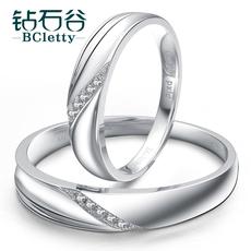 钻石谷 白18k金戒指钻石对戒对戒定制结婚情侣对戒女钻戒正品男女