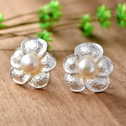 Very natural Pearl 925 sterling silver ornate Thai lady Joker earrings Korean Thai Silver earrings new