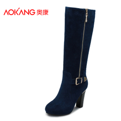 Aokang shoes elegant high boots casual leather women's boots Western fashion high heel zipper biker boots