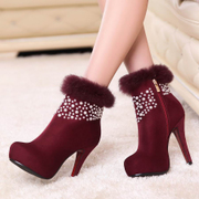 Singular love of autumn/winter women's shoes women's boots and thick platform at the end of super high heels short boots rabbit fur short barrel Pearl fashion boots