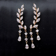 Japanese and Korean fashion Joker symmetrical leaves female temperament long tassels earring zircon earrings