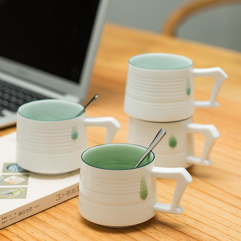 马克杯 陶瓷杯 创意个性杯子 时尚水杯 龙泉青瓷咖啡杯 批发订制