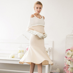 Spring in Europe and America the new elegant nude colour matching ruffled dresses with fishtail skirts, strapless slim socialite 9216